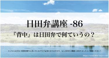 大分県日田市の方言【日田弁】講座-86『背中』は日田弁で何ていうの?